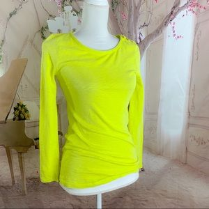 NEW J Crew Neon Yellow Button Long Sleeve Tee